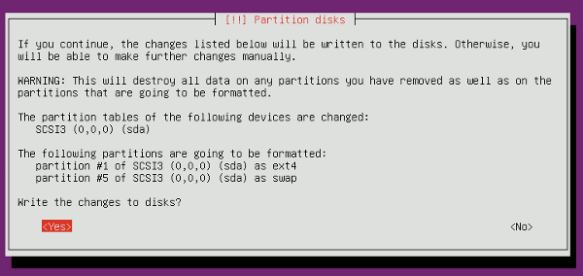 minimal-ubuntu-install-partition-confirm (image from maketecheasier)